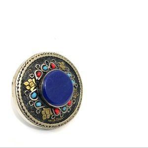 Boho circle multi colour tribal statement ring
